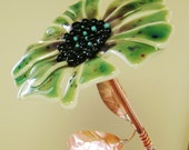 Speckled Glass Garden Flower with Copper Stem & Leaves