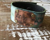 40% OFF- Stamped Leather Cuff-Loved-Word Cuff-