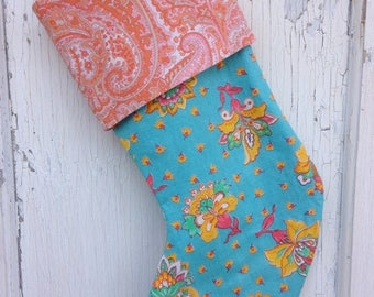 40% OFF- Vintage Floral Stocking -Christmas Stocking-Upcycled Bed Linens