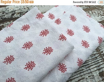 40% OFF- Red Floral Fabric-Country Red-Reclaimed Bed Linens