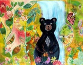Modern Intuitive Painting Black Bear Art Cabin Art Colorful Healing Painting by Carol Iyer