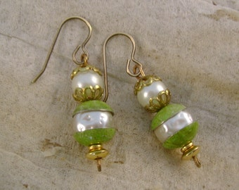 Pea Green With Envy - Vintage Green Tin Beadcaps and Pearls Recycled Repurposed Jewelry Earrings - Ten Year Anniversary Gift