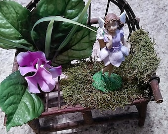Fairy Bench ,  fairy garden chair, miniature bench , miniature chair , woodland fairy , grapevine , woodland furniture