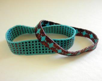 Beaded Bangle Bracelet Set Peyote Stitch Bangle Bracelet Set Turquoise Raspberry Bronze