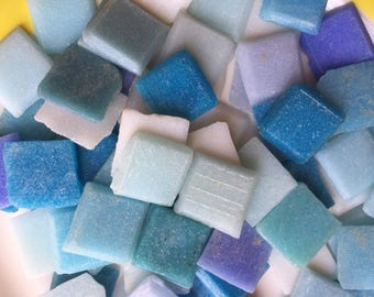 Mosaic Tiles Mix vintage Venetian Glass Square Tile 1x1 Old Flat Back Blues White Colors 100