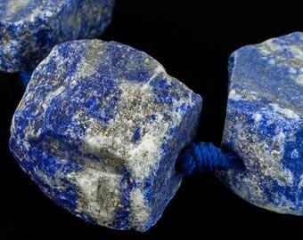 20mm-30mm Lapis Lazuli Rough Nugget Strand