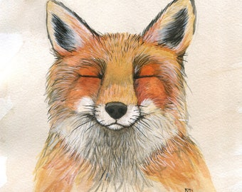Foxy Friend - 11x14 Art Print - Adorable Grinning Fox - Art by Marcia Furman