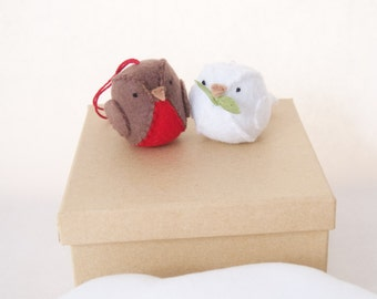 Reserved Christmas doves and robin
