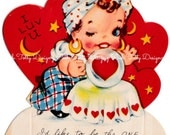 Vintage 1920's - 1930's Gypsy Fortune Teller I'd Like To Be The One In Your Future Valentine's Day Greetings Card (B17)