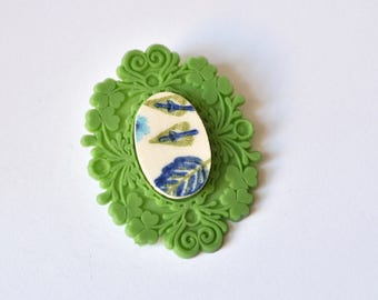 SALE French Brocade Recycled China Brooch - Green and Blue