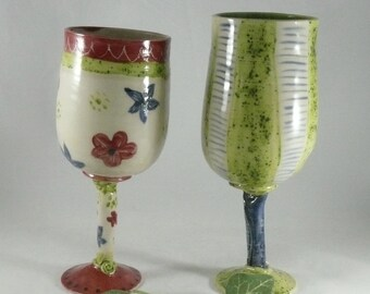 Quirky Wedding Wine Glass, Funky Bridal Wine or Parfait Glass,  ceramics and pottery 9th anniversary gift , White Wine Cup, Wine Chalice 681