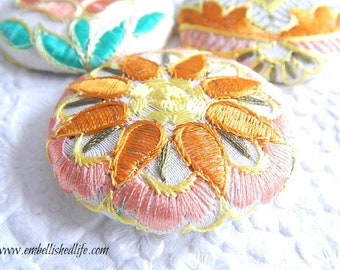 3 peach orange embroidered floral fabric buttons,  1 7/8 inches, 1.9 inches, 4.7 cm, 48.26 mm, size 75 buttons