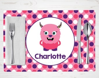 Pink Monster Placemat - Child's Placemat - Personalized with Child's Name - Custom Place Mat