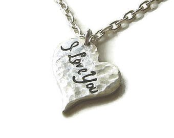 I Love You Silver Heart CHARM and Sterling Silver Necklace, unique personalized jewelry, graduation gift, Romanza Jewelry