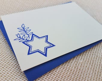 Letterpress Enclosure Card - Jewish Star with Branch