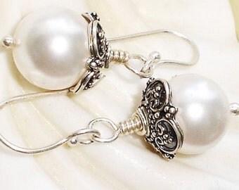 Pearl Sterling Silver Earrings Bali White Swarovski Pearl Earrings