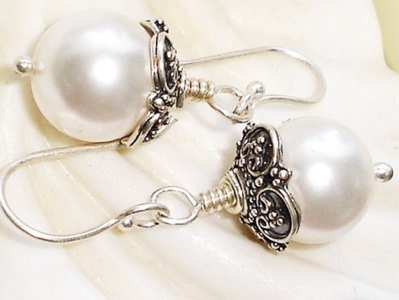 Pearl Sterling Silver Earrings Bali White Swarovski Pearl Earrings