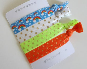 Set of 4 hair ties - elastics - no crease - stretch bracelets - rainbows - dots - neon yellow - orange - party favor - gift - summer - dK13