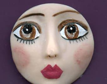 "Polymer Clay 1 1/4"" round detailed Art Doll Face Cab DDF 3"