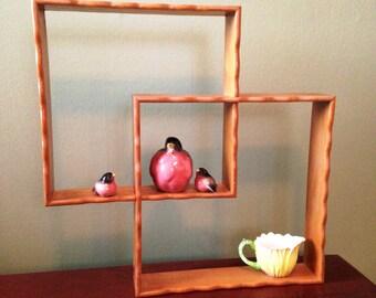 Vintage Interlocking Wood Shelves, Knick Knack Wall Cubes, Mid Century Modern Wall Shelf Set, Scalloped Edges, Shabby, Diamond Shelves