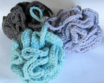 Bath Pouf, Cotton Bath puff, Bath Accessory // Many Colors to choose from // Perfect gift or Stocking Stuffer