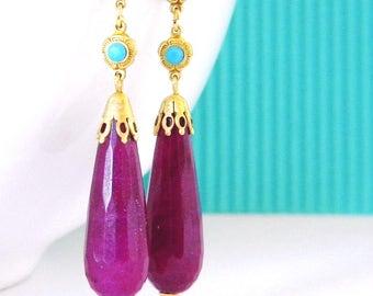 Purple Jade Turquoise Rhinestone Long Art Deco Earrings