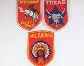 Vintage State Souvenir Patches Texas Wyoming Oklahoma Travel Red Badge Shield Red Western States