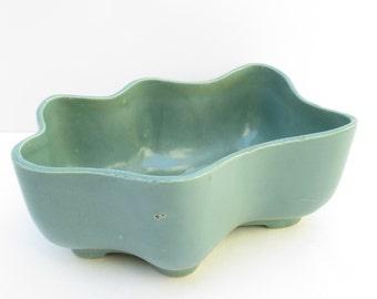 Vintage Planter Teal Blue Glazed Ceramic Unique Shape Mid Century Pottery 10 Inch Long