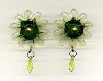 Resin  Earrings – Flowers - Light  – Nickel free studs - Dagger Glass Beads