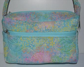 Quilted Fabric Cross Body  Hip Bag Beautiful Pastel Floral Batik