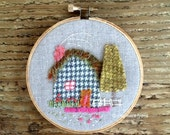 tiny house hoop art cottage embroidery : houndstooth cabin, zinnias and garden fence
