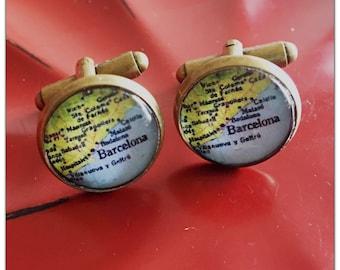Vintage Barcelona Spain Map Cufflinks -   Map Cufflinks - Bitty Cufflinks - glass cufflinks - Gift for Him - glass art