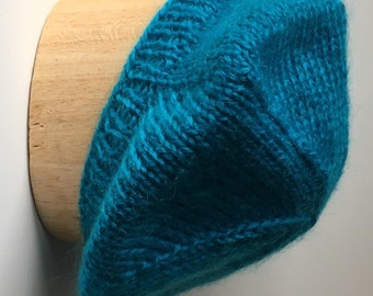 Turquoise Beret Handknit in Mohair Acrylic Blend Yarn - Soft and Lovely!