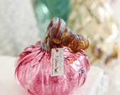 Hand-Blown Ruby Pumpkin with Metallic Gold Stem