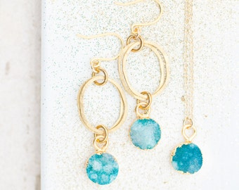 Blue Druzy Quartz Earrings and Necklace SET , Sky Blue Jewelry Set, Gemstone Jewelry Set