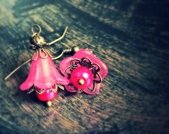 Jewelry Gift Earrings, Flower Dangle earrings, pink earrings, pink flower earrings, flower earrings, wedding dangle earrings