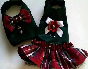 Christmas Dog Dress Plaid Satin Fancy Holiday Dog Dress and matching dog vest