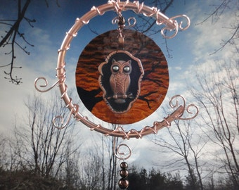 """Stained Glass Mobile, Vintage Owl, Garden Sculpture, Copper Moon, Window Hanging, Home Decor, Nature, Celestial, """"Midnight in the Garden"""""""