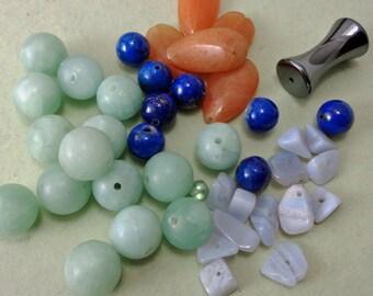 Mixed Lot of Natural Stone Beads Including Lapis, Amazonite, Aventurine, Hematite
