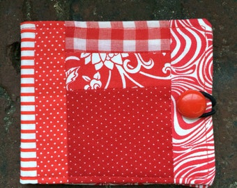 Needle book, needlebook, sewing notion, red and white, gift for quilter sewer