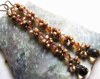 Smokey Topaz, Freshwater Pearls, & Orange Swarovski Crystal Earrings, Long
