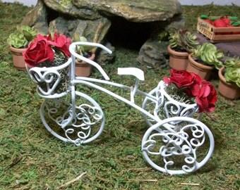 White tricycle planter miniature fairy garden, gnome or terrariums
