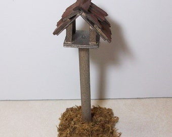 Fairy Garden bird house with moss covered stand