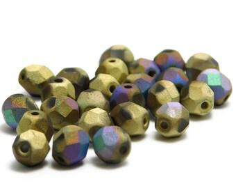 Czech Fire Polished Beads - 6mm Fire Polished - Round Beads - Czech Glass Beads - 6mm Round - Faceted Round - 25pcs (222)