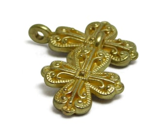 Cross Pendant - Gold Cross - Gold Charms - Gold Cross Pendant - Cross Charms - Religious Charms - Catholic Charms - 2pcs (3937)
