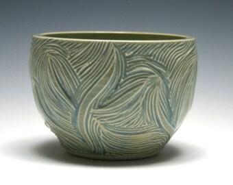 Small Ceramic Bowl, Branch Design, Ocean Blue Glaze, Home Decor, Handmade Pottery