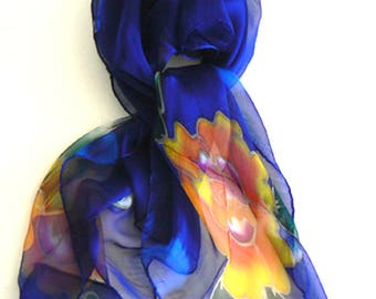 Blooming Flower Hand Made Silk Scarf Bandana Hand Colored