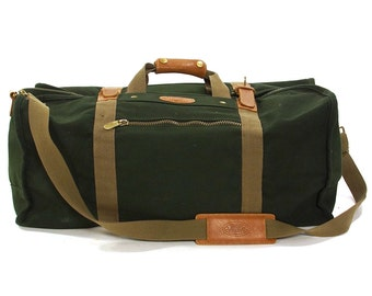 80s Dakota Tumi Duffel Bag Vintage LARGE Green Canvas Weekender Duffle Travel Tote Leather Trim HUGE Cotton Satchel Removable Shoulder Strap