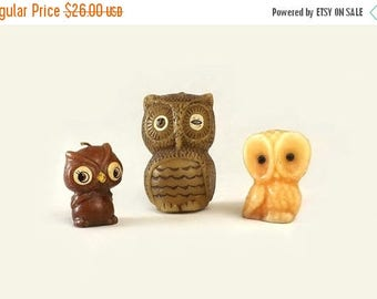 Owl Wax Candles, Set of 3, Vintage Woodland Home Decor, Figural Birds, Instant Collection