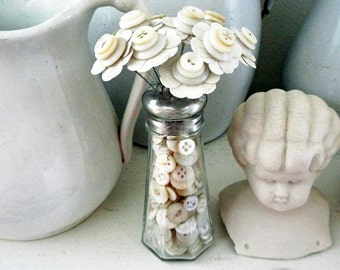 Button Bouquet in Button Filled Salt Shaker Shabby White Wedding Decor Party Favor Paper Flowers Button Flowers